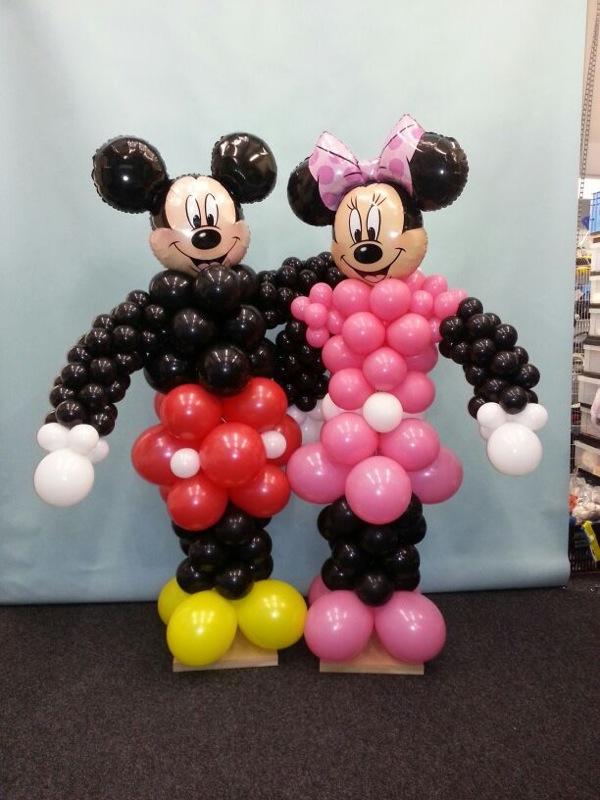 De Ballonnenkoning - ballon mickey minnie - geel rood zwart wit roze