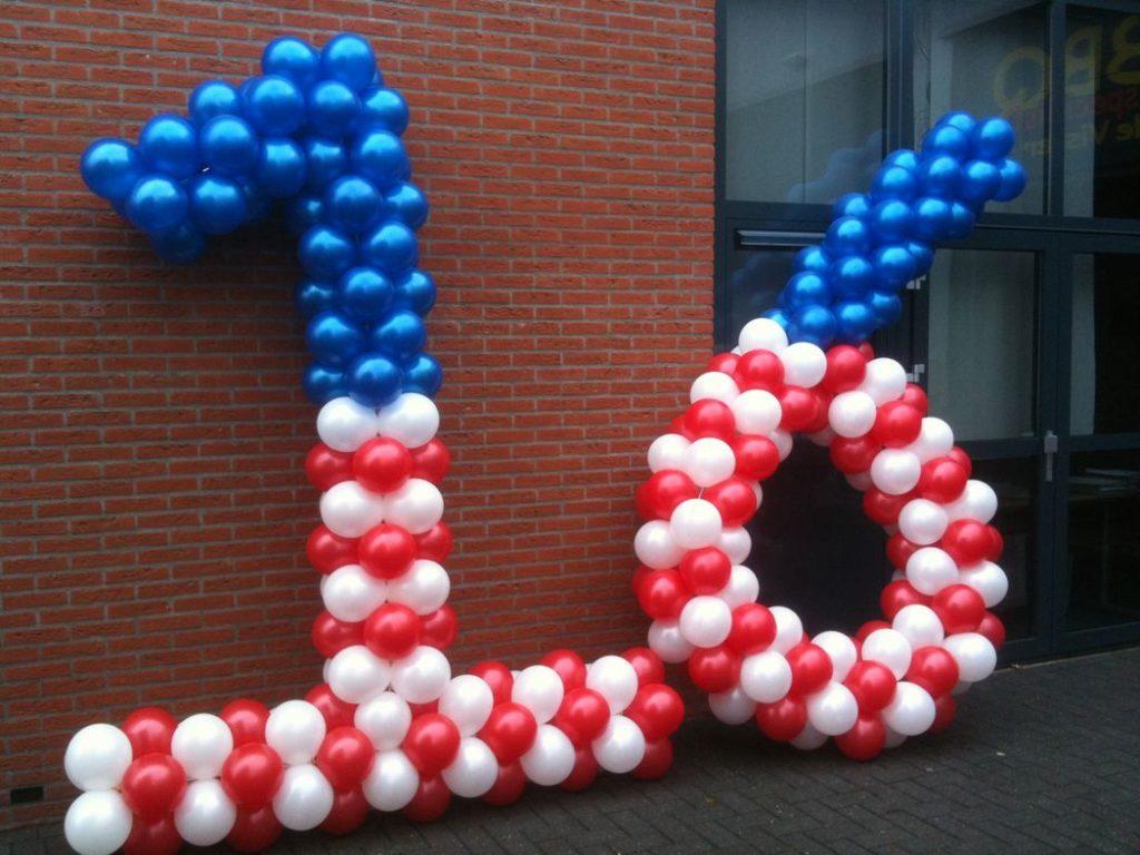 De Ballonnenkoning - ballon leeftijd 16 - Amerika rood wit blauw