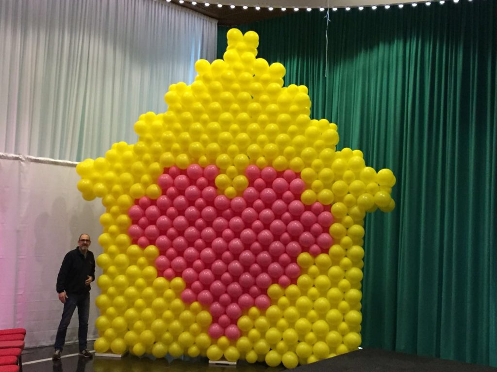 De Ballonnenkoning - ballonwand of ballonmuur - geel roze
