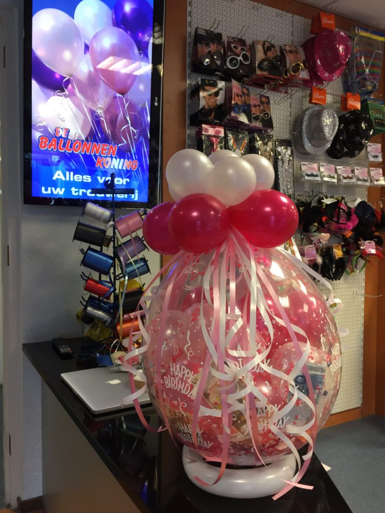 De Ballonnenkoning - cadeau ballon - happy birthday - roze rood zilver