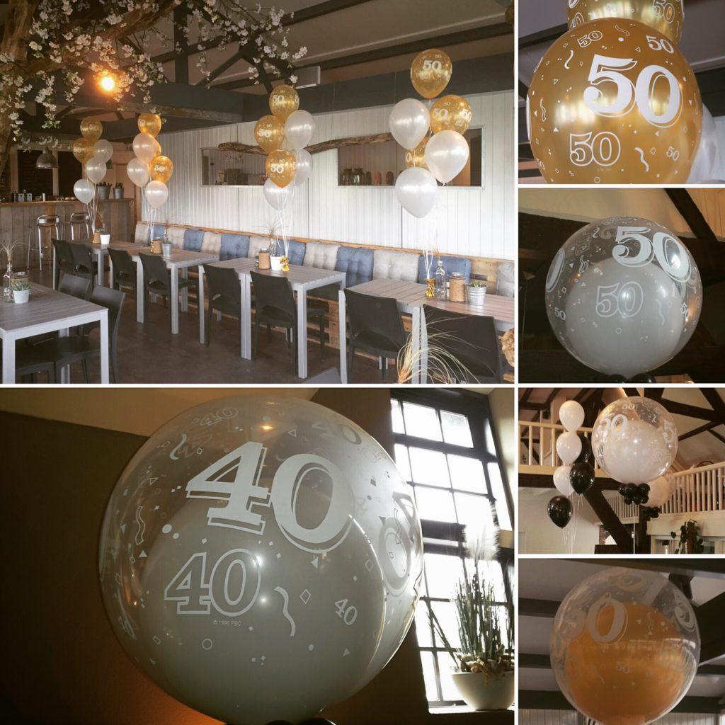 De Ballonnenkoning - ballon leeftijd 40, 50 - goud zilver bedrukt