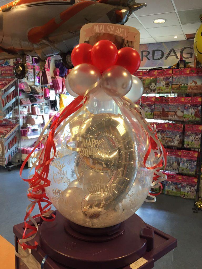 De Ballonnenkoning - cadeau ballon - leeftijd 9 - happy birthday - rood zilver
