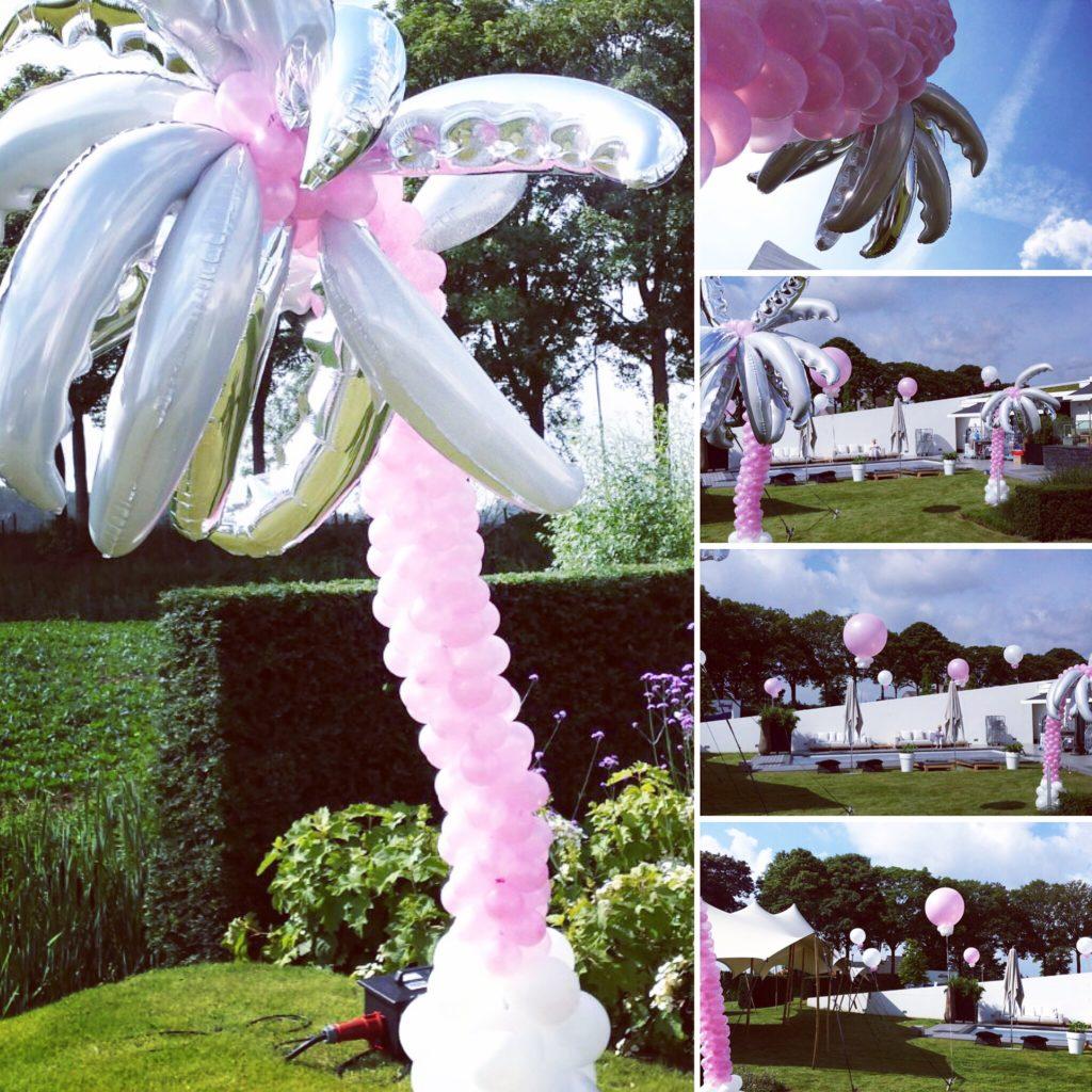 De Ballonnenkoning - ballon palmboom - roze zilver wit