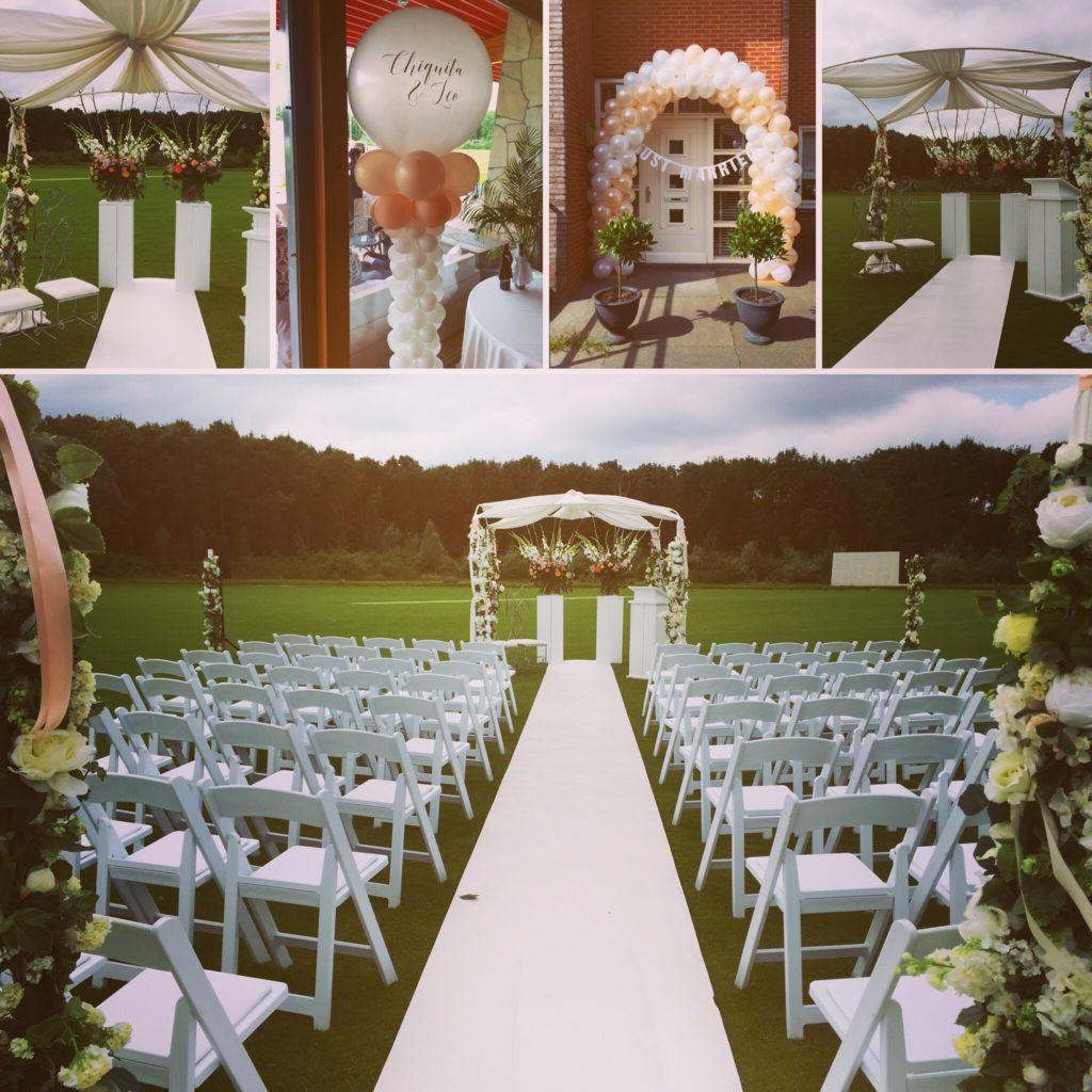 De Ballonnenkoning- Trouwprieel en stoelen kleuren Peach en White