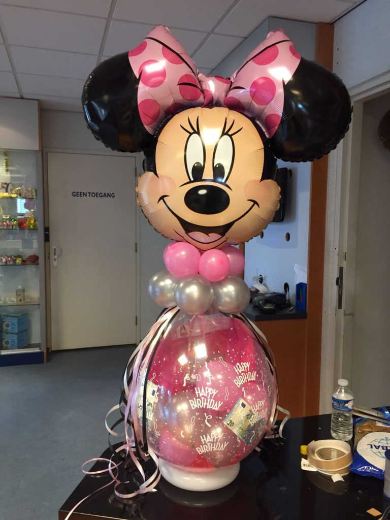 De Ballonnenkoning - cadeau ballon - minnie mouse - happy birthday - roze zilver