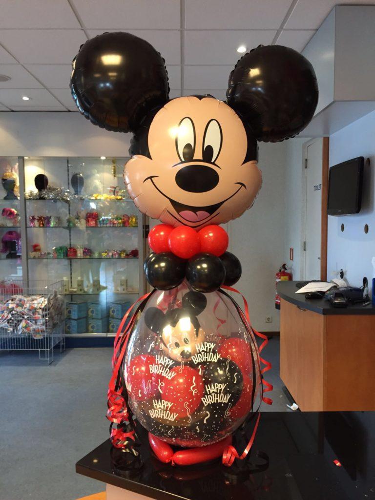 De Ballonnenkoning - cadeau ballon - mickey mouse - happy birthday - rood zwart