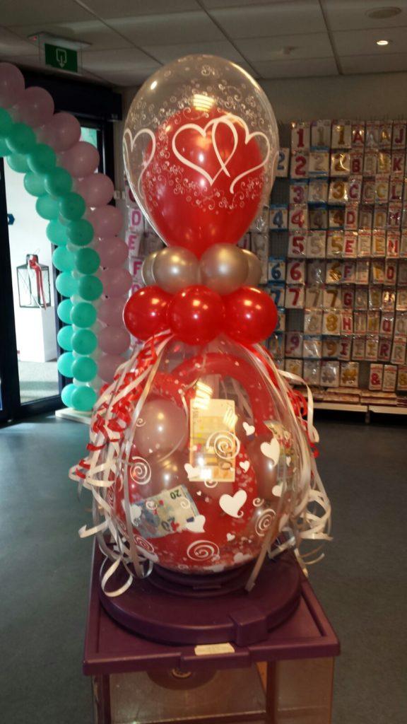 De Ballonnenkoning - cadeau ballon - bedrukt - happy birthday - rood zilver