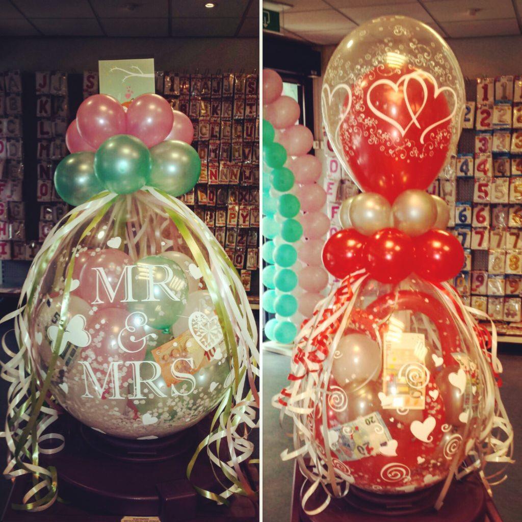 De Ballonnenkoning - cadeau ballon - bedrukt - mr&mrs - roze groen rood zilver