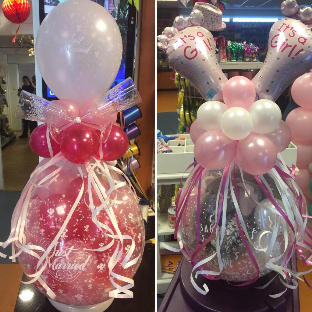 De Ballonnenkoning - cadeau ballon - geboorte meisje - just married - roze zilver magenta