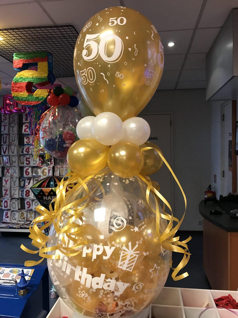 De Ballonnenkoning - ballon leeftijd 50 - goud wit bedrukt