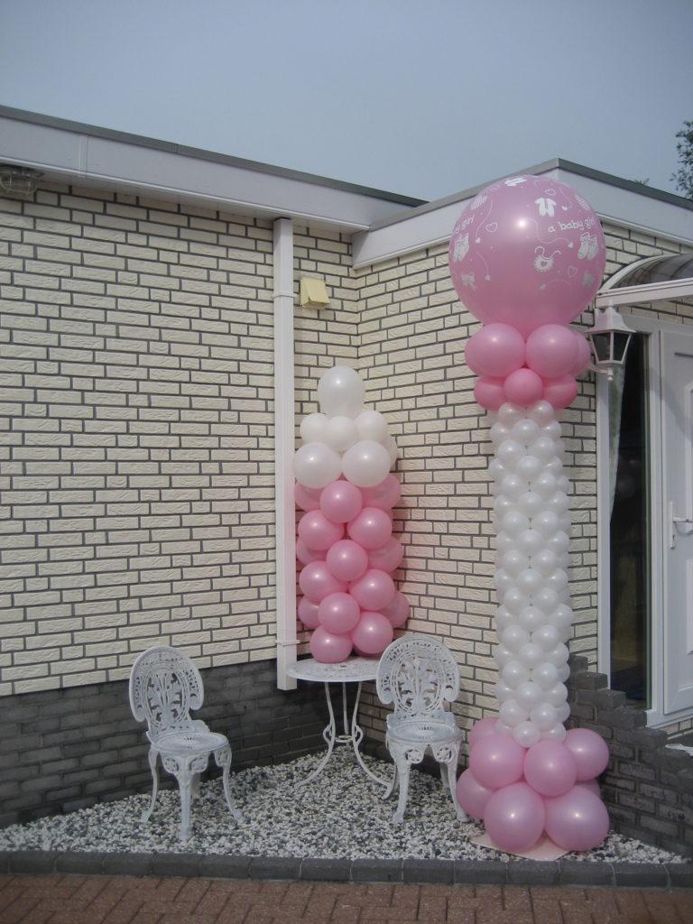 De Ballonnenkoning - ballonpilaren - wit roze - roze bedrukte topballon
