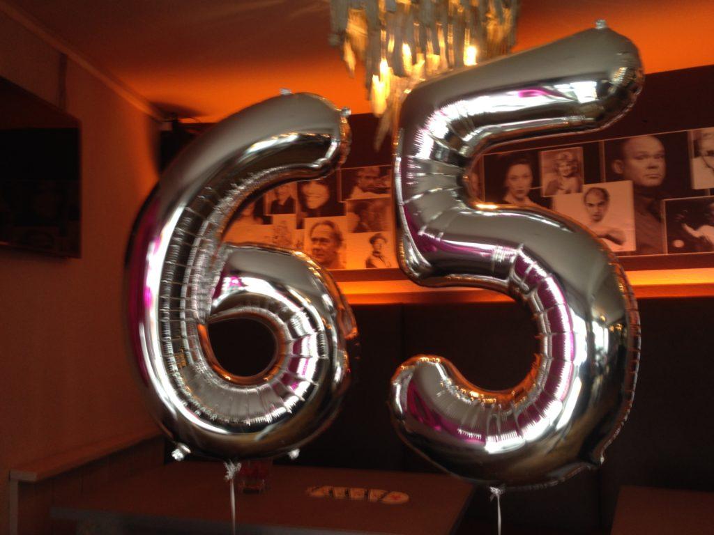 De Ballonnenkoning - ballon leeftijd 65 - zilver