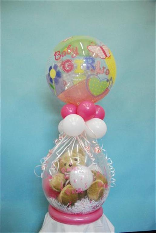 De Ballonnenkoning - cadeau ballon - baby meisje - wit roze