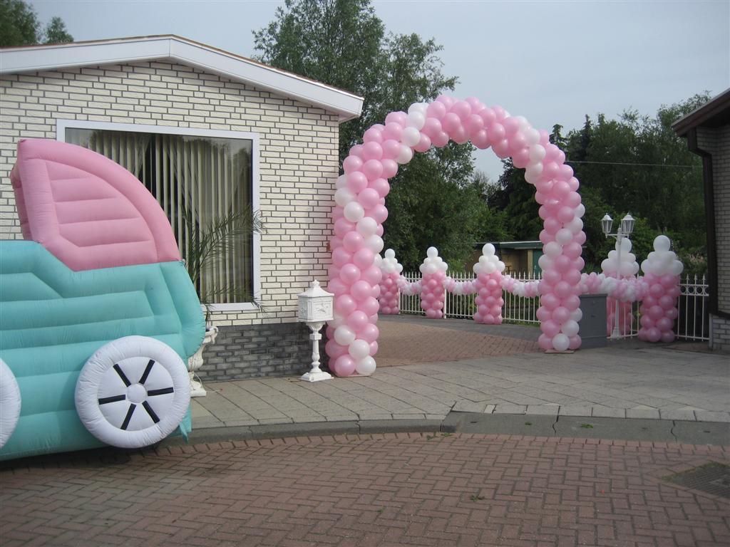 De Ballonnenkoning - ballonboog - roze wit - pilaartjes