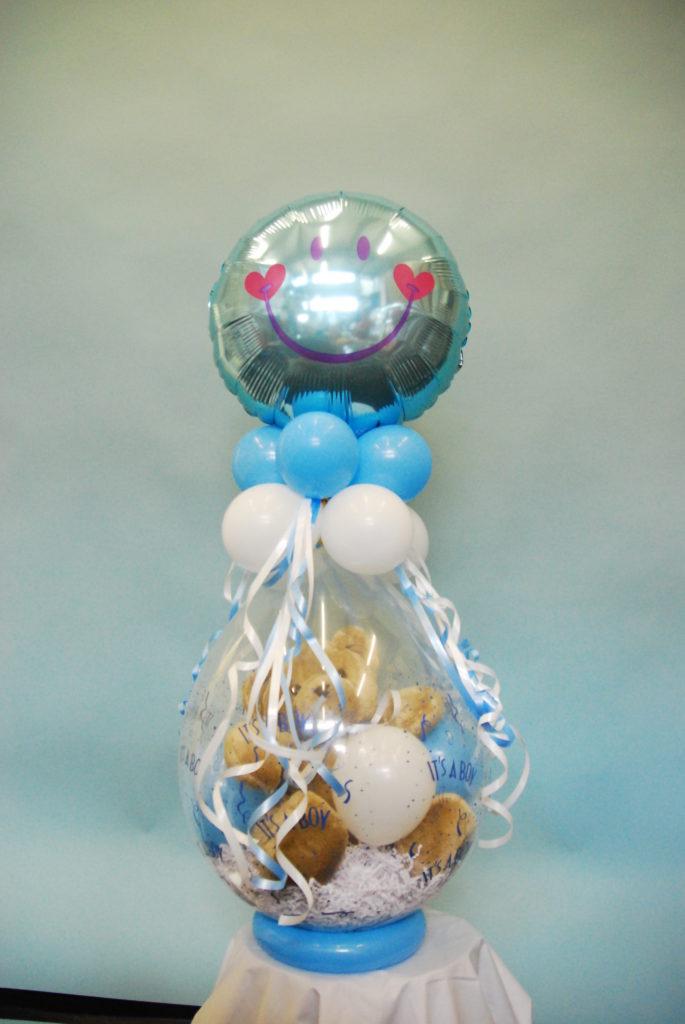 De Ballonnenkoning - cadeau ballon - geboorte baby jongen - blauw wit