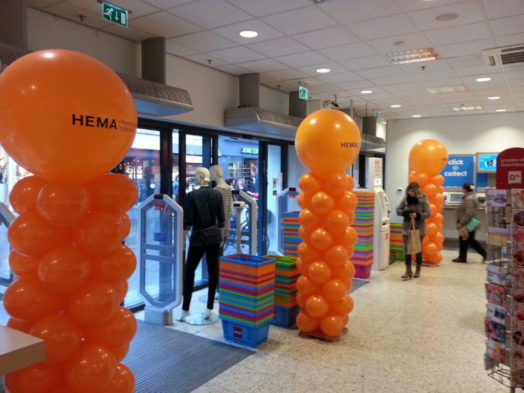 De Ballonnenkoning - ballonpilaren - oranje - oranje bedrukte topballon