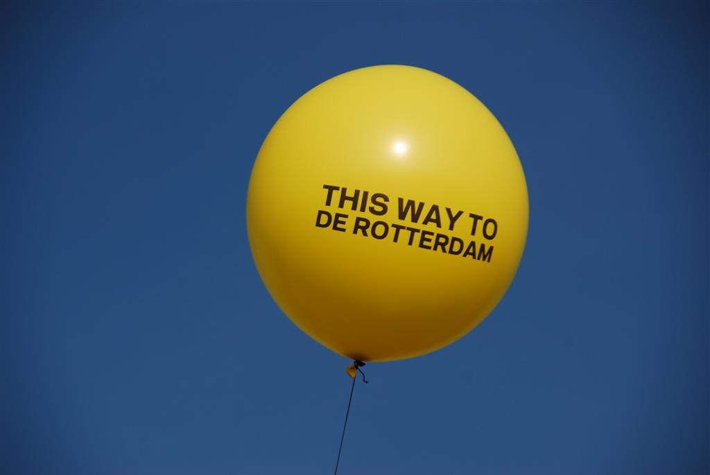 De ballonnenkoning - evenement decoratie - bedrukte topballon - geel