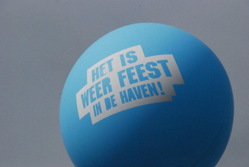 De ballonnenkoning - evenement decoratie - grote bedrukte ballon - licht blauw
