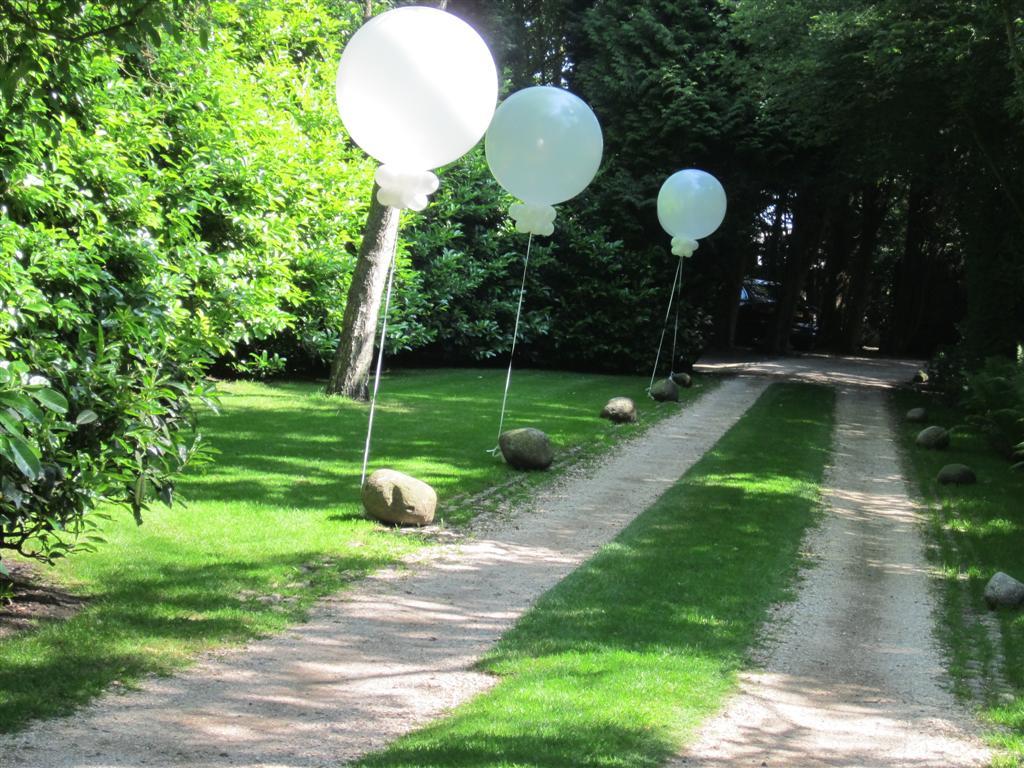 De Ballonnenkoning - Grote heliumballonnen buiten geplaatst