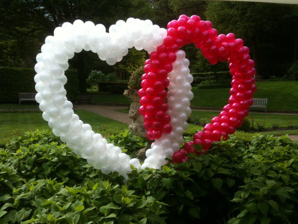 De Ballonnenkoning - ballon harten - zilver magenta