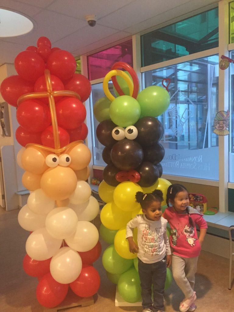 De Ballonnenkoning - ballon decoratie - sinterklaas viering - ballonnensinterklaas pilaar - zwartepiet pilaar - goud rood wit groen geel zwart