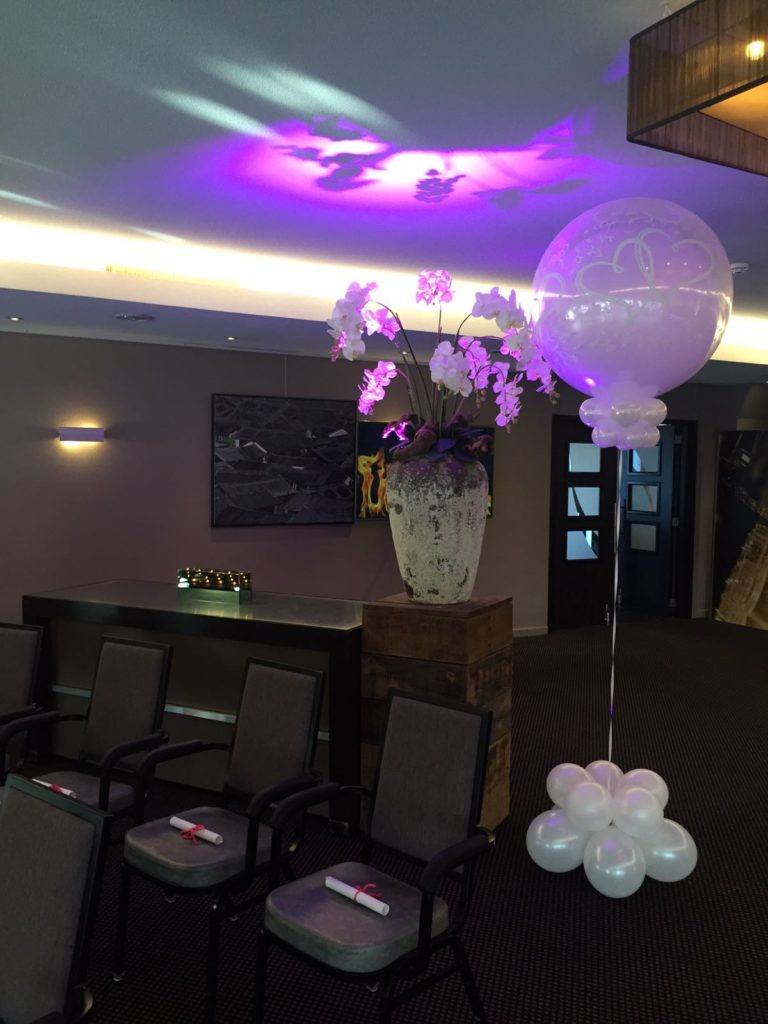 De Ballonnenkoning- Hotel Ara -topballonnen white maaszaal