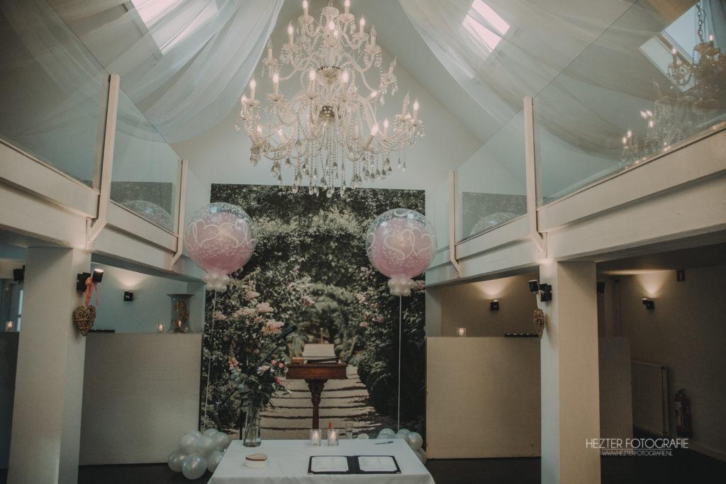 De Ballonnenkoning - Trouwbeleving - bedrukte doorzichtige topballon - zilver roze